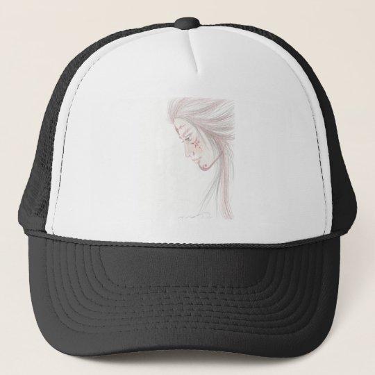 native tattoed woman trucker hat