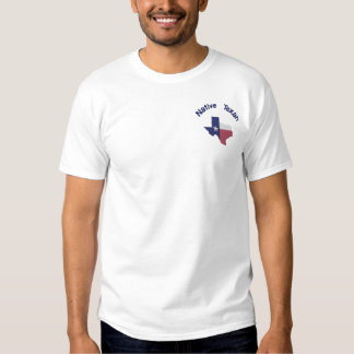 Native Texan Flag Map Embroidered T-Shirt