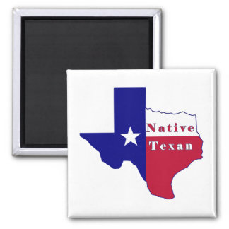 Native Texan Flag Map Magnet
