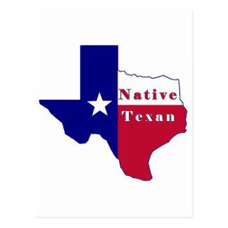 Native Texan Flag Map Postcard