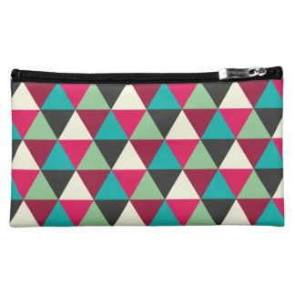 Native Tribal Geometric Triangles Patterned Cosmetic Bag