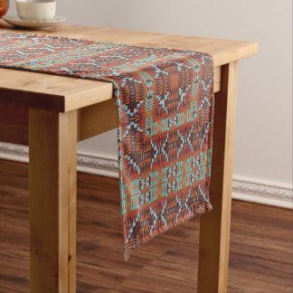 Native Tribal Modern Retro Abstract Mosaic Pattern Short Table Runner
