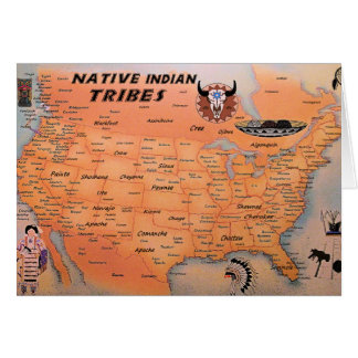 Native Tribes Map Greeting Card