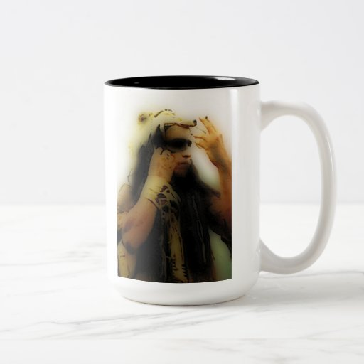 'Native Warrior Prepares for Battle' Two-Tone Coffee Mug