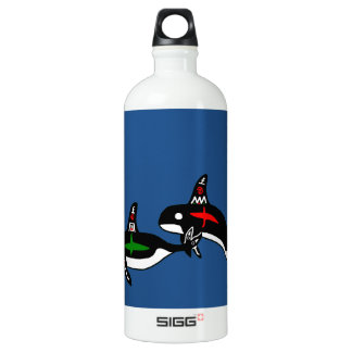 Native Whales With Blue Background Water Bottle