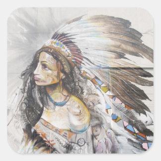 Native Woman Graffiti Sticker