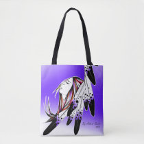 Native woman via eagle feathers /purple tote bag