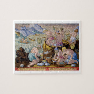 Natives Fishing for Giant Clams on the Indus, plat Jigsaw Puzzle
