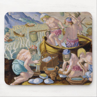 Natives Fishing for Giant Clams on the Indus, plat Mouse Pad