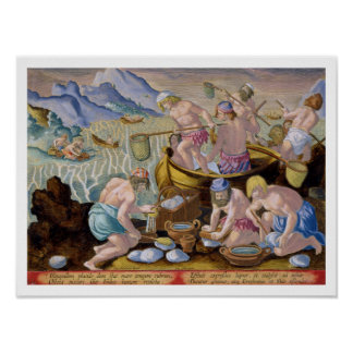 Natives Fishing for Giant Clams on the Indus, plat Poster