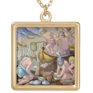 Natives Fishing for Giant Clams on the Indus, plat Square Pendant Necklace