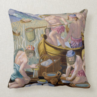Natives Fishing for Giant Clams on the Indus, plat Throw Pillow