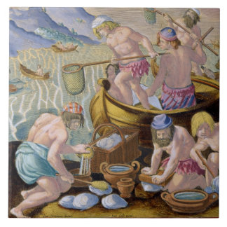Natives Fishing for Giant Clams on the Indus, plat Ceramic Tiles