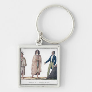 Natives of New Zealand Silver-Colored Square Keychain