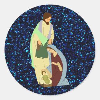 natividad 3 pegatinas redondas