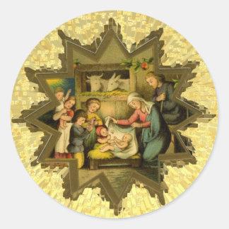 Natividad alemana antigua en el pegatina