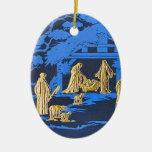 Natividad azul adorno navideño ovalado de cerámica