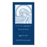 Natividad azul tarjeta con foto personalizada