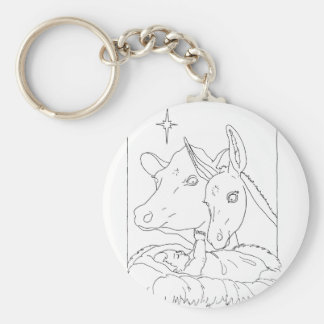 Natividad con el buey y el burro llaveros