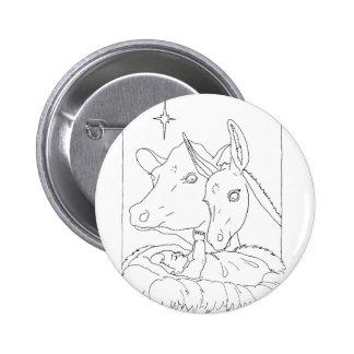 Natividad con el buey y el burro pin redondo 5 cm