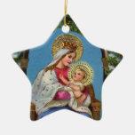 Natividad con Madonna y el niño Adorno Navideño De Cerámica En Forma De Estrella