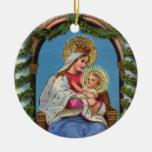 Natividad con Madonna y el niño Adorno Redondo De Cerámica