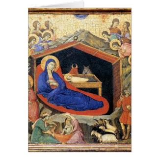Natividad de Duccio, tarjeta de texto inglesa