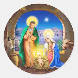 Natividad de Jesús con José y Maria, vacas, donky Pegatina Redonda