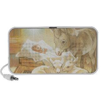 Natividad de Jesús del bebé con los corderos y el iPod Altavoces