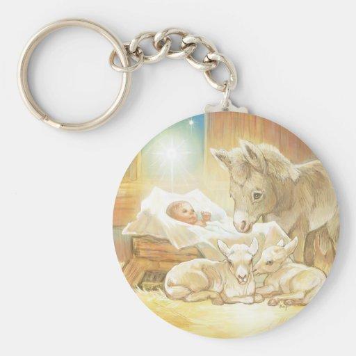 Natividad de Jesús del bebé con los corderos y el  Llavero Redondo Tipo Pin
