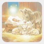 Natividad de Jesús del bebé con los corderos y el Calcomanía Cuadradas