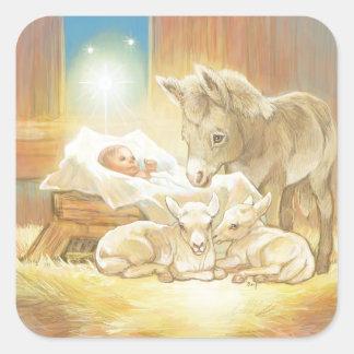 Natividad de Jesús del bebé con los corderos y el Pegatina Cuadrada