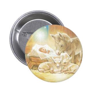 Natividad de Jesús del bebé con los corderos y el  Pin Redondo 5 Cm