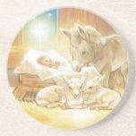 Natividad de Jesús del bebé con los corderos y el  Posavasos Cerveza