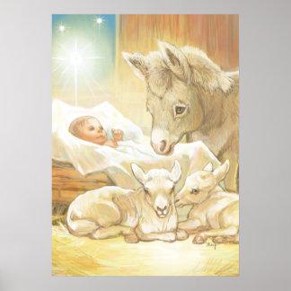 Natividad de Jesús del bebé con los corderos y el  Póster
