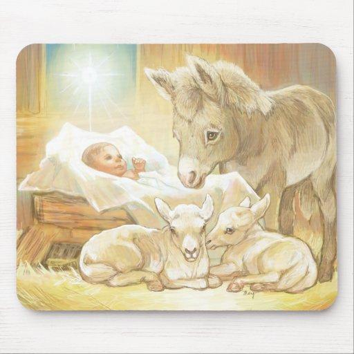 Natividad de Jesús del bebé con los corderos y el  Alfombrillas De Raton