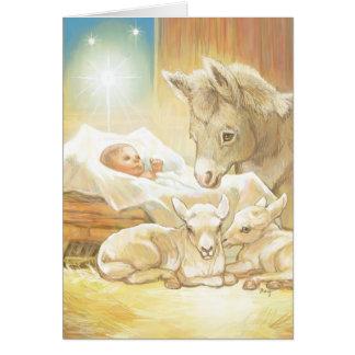 Natividad de Jesús del bebé con los corderos y el Tarjeta De Felicitación