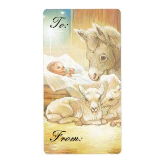 Natividad de Jesús del bebé con los corderos y las Etiquetas De Envío