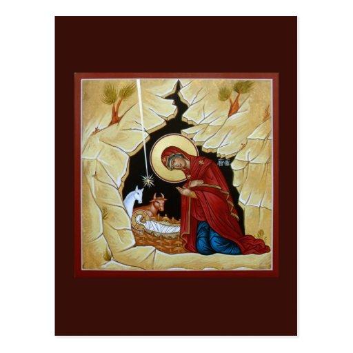 Natividad de la tarjeta del rezo de Cristo Postal