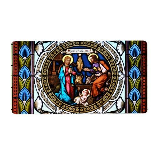 Natividad de la ventana de la capilla de Mehrerau  Etiquetas De Envío