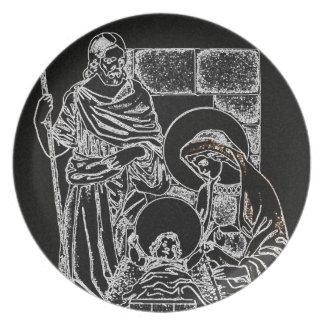 natividad de plata blanca negra plato para fiesta