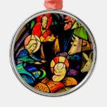 Natividad del estilo del vitral ornamentos para reyes magos