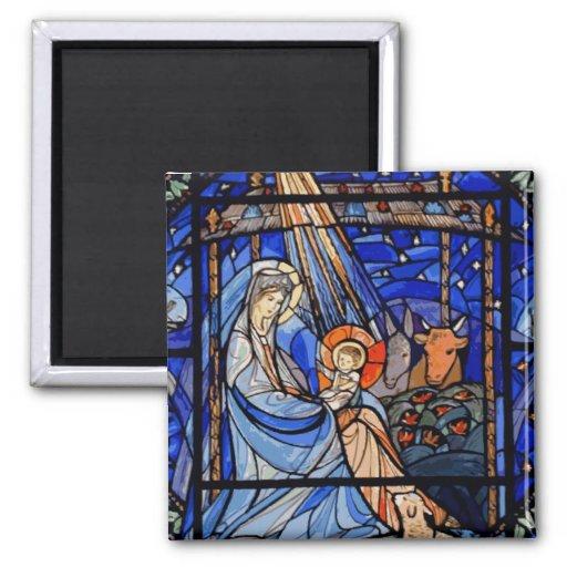 Natividad del estilo del vitral imán para frigorifico