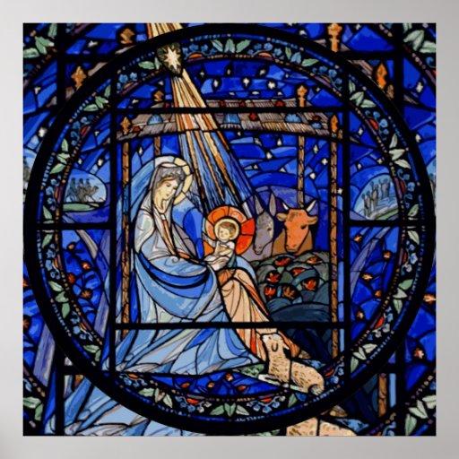 Natividad del estilo del vitral impresiones