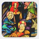 Natividad del estilo del vitral calcomania cuadrada personalizada