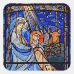 Natividad del estilo del vitral pegatina cuadradas personalizadas