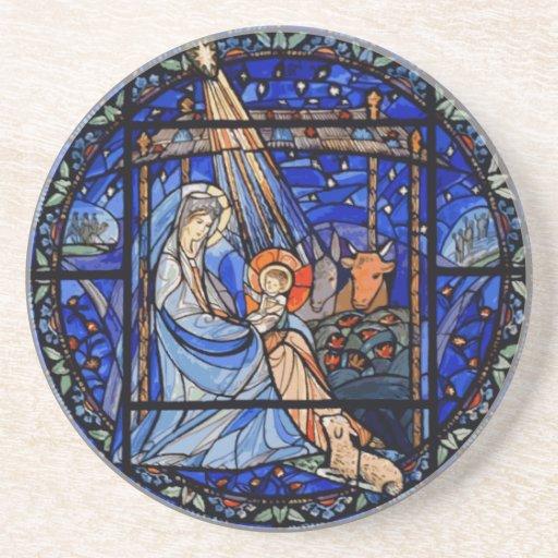 Natividad del estilo del vitral posavasos manualidades