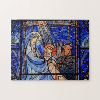 Natividad del estilo del vitral puzzle con fotos
