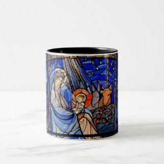 Natividad del estilo del vitral taza dos tonos