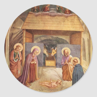 Natividad del Fra Angelico- Pegatinas Redondas